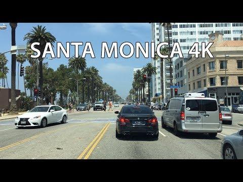 Driving Downtown - Santa Monica 4K - Los Angeles USA