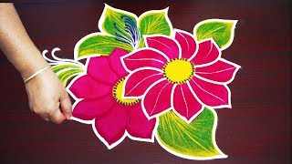 simple rangoli designs for aadi festival - freehand muggulu designs - without dot colour kolam