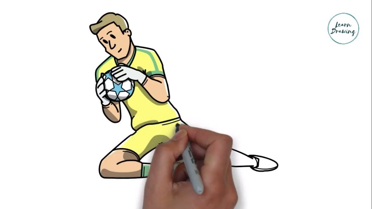 How To Draw A Football Player Catching A Ball Easy Drawing Lesson