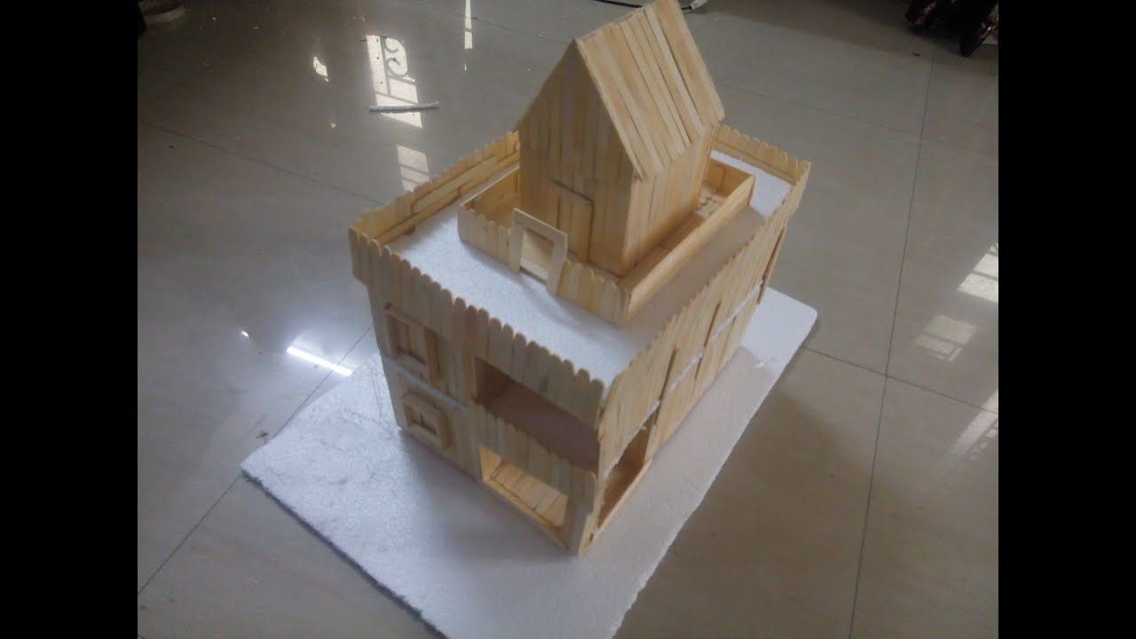 Diy how to make a duplex house uisng popsicle sticks ice cream sticks youtube