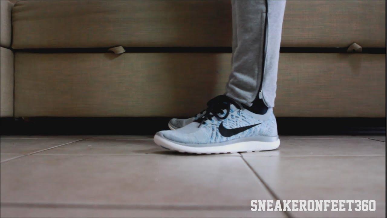 77c5c12464ad4 Nike Free 4.0 Flyknit Wolfgrey Blue Lagoon - YouTube