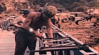Seabees Push Bailey Bridge Across A Stream And Work On It In The Pacific Theater ...hd Stock Footage