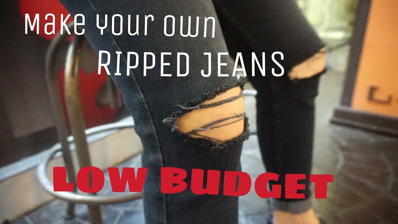 Make Your Own Ripped Jeans Celana Jeans Sobek Low Budget Indonesia Youtube