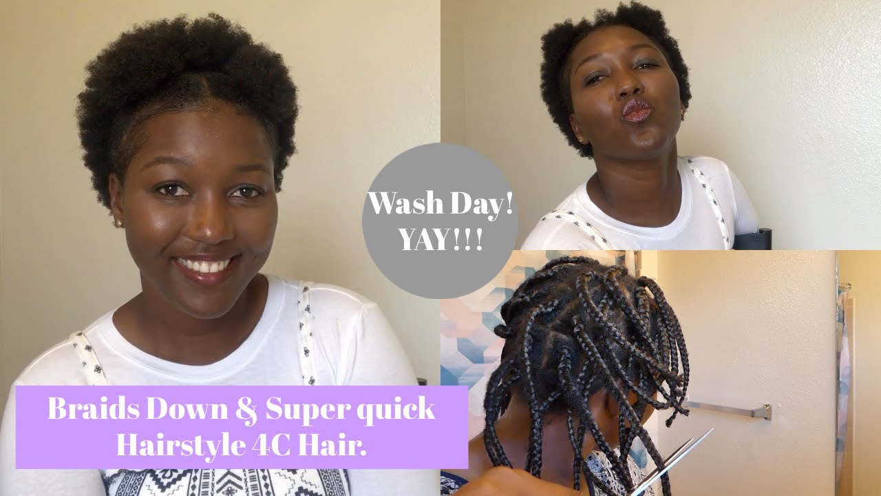Taking down my braids & quick Hairstyle on Natural Hair.