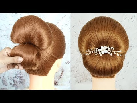 Simple Bun Hairstyle For Wedding Or Party - Easy Bridal Hair Tutorial | Quick And Easy Hairstyles thumbnail