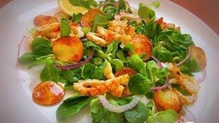 Салат с кальмарами под медово лимонной заправкой. Пошаговый рецепт