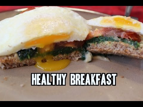 Quick, Healthy Breakfast (Eggs with Hummus, Spinach & Tomato on Toast)