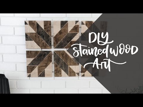 DIY Geometric Wood Stained Art - Quick And Easy Wall Decor