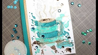 Tim Holtz Fresh Brewed Blueprints | Mission Gold Watercolor | AmyR Coffee Card Series #4