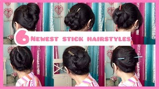 6 Newest Stick Hairstyles - Hairstyle Stick Bun | Stick Hairstyle For Long Hair