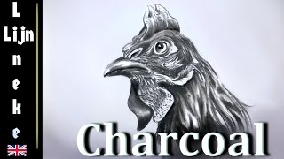 Drawing a CHICKEN or ROOSTER in Charcoal easy for beginners