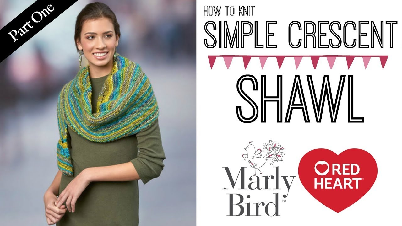 How to Knit Simple Crescent Shawl - YouTube