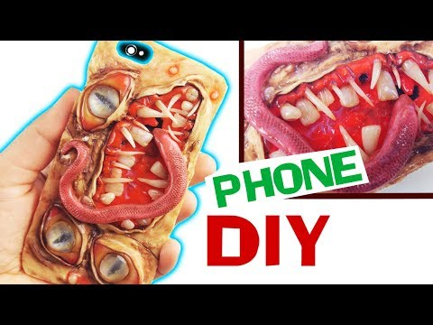 HOW TO MAKE CREEPY MONSTER PHONE CASE DIY clay & resin tutorial  Halloween 2017 craft iphone cover