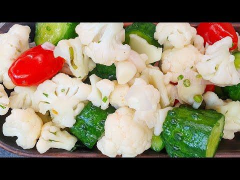 Постный Салат Азар из малосольных огурцов и цветной капусты. Витаминный салат.