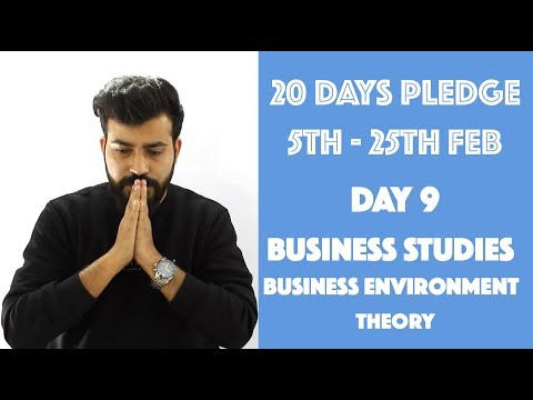 Day- 9 - Business Environment- Theory- class 12th #20dayspledge