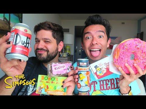 Probando Comida de Los Simpson (Cerveza Duff, Chocolate de Tocino y Más) - Ami Rodriguez Ft. Gwabir