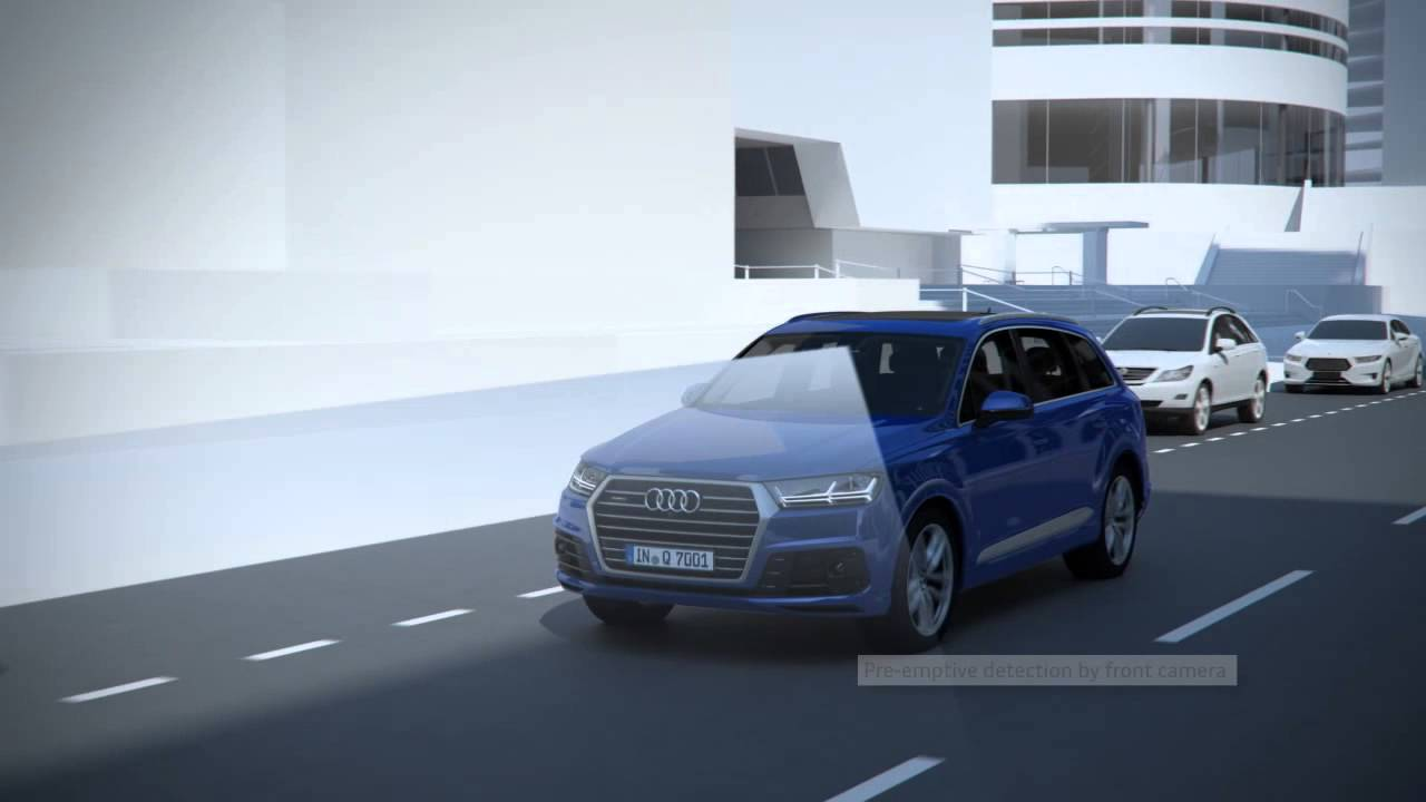 audi q7 driver assistance systems pre sense city youtube. Black Bedroom Furniture Sets. Home Design Ideas