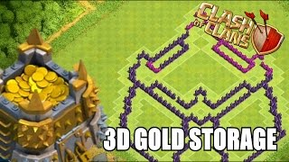 Clash Of Clans | Awesome 3d Gold Storage Farming Base Th8