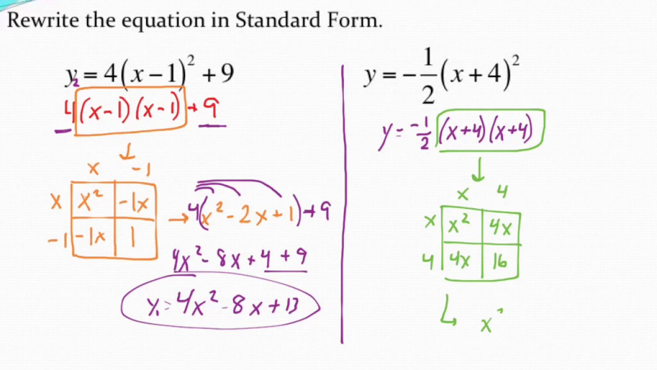 Rewriting a quadratic equation in standard form box method youtube rewriting a quadratic equation in standard form box method falaconquin
