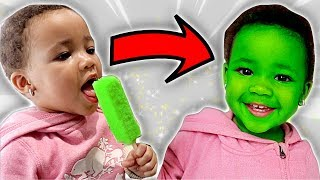 Popsicle Turns Baby's Face Green | FamousTubeKIDS