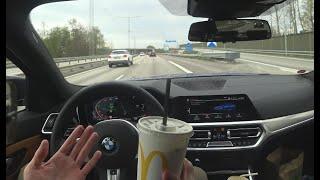 Autonomous Driving G20 BMW 330i Lower Speeds / Eating POV [4k]