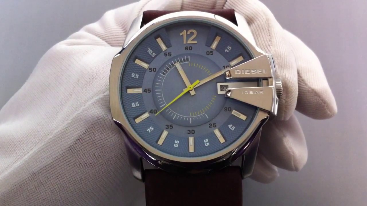 Men S Diesel Brown Leather Band Casual Watch Dz1399 Youtube