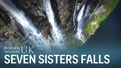 Beautiful drone footage captures Norway's 250-metre high Seven Sisters waterfall