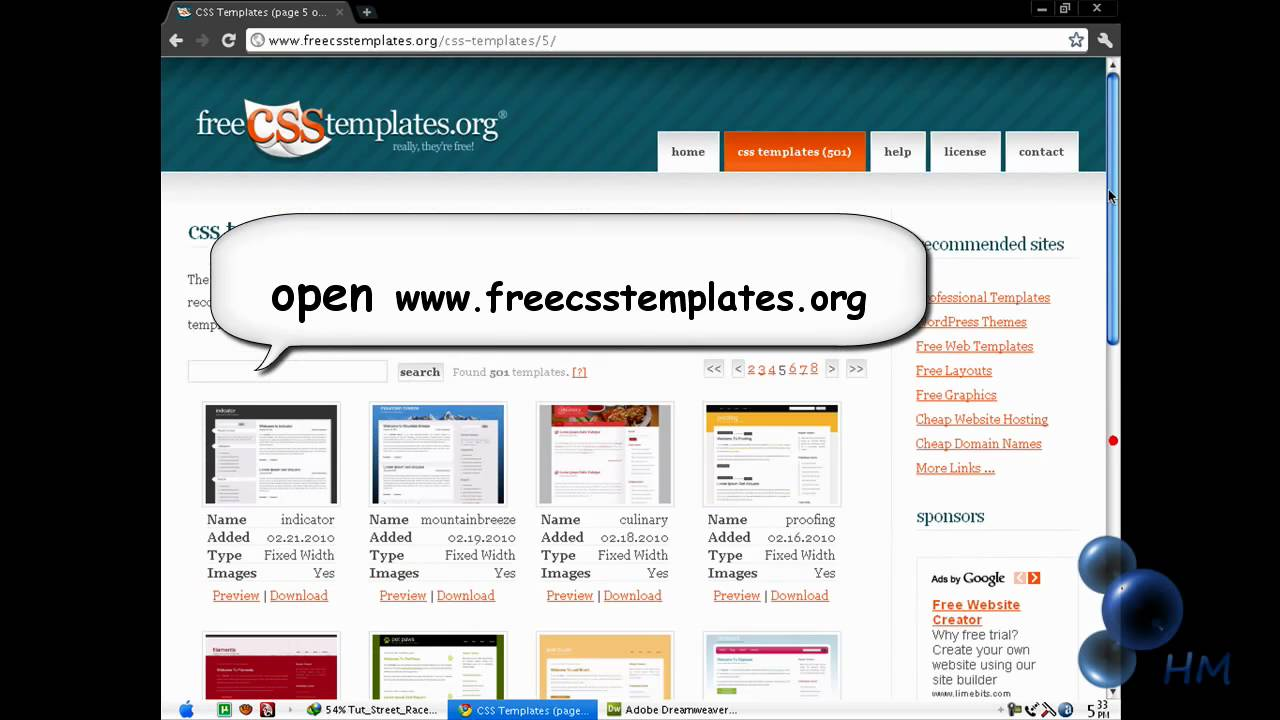 Macromedia Dreamweaver 8 Templates Free Download Pigibrand