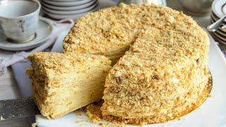 торт НАПОЛЕОН: классический рецепт с Заварным КремомПростой рецепт - ИДЕАЛЬНО НЕЖНЫЙ торт!