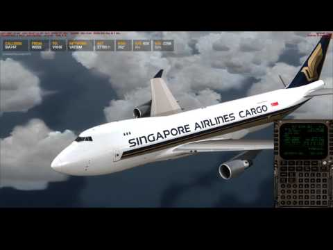 [FSX] PMDG 747-400 SQC7956 WSSS to VHHX on VATSIM! 18JUN2017 (Landing)