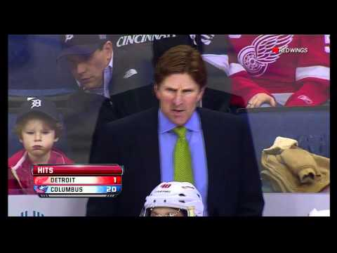Mike Babcock has a good laugh at the official scoring staff at Nationwide Arena
