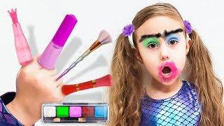 Милана и папа - история про игры с косметикой для детей