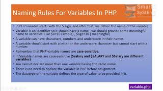 Naming Rules For Variables In PHP Part One