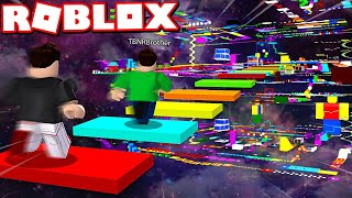 ROBLOX *INSANE* RAINBOW SPEED OBBY RACE vs MY LITTLE BROTHER!