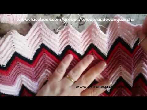 Cómo hacer aumentos y disminuciones en punto zig zag crochet - YouTube