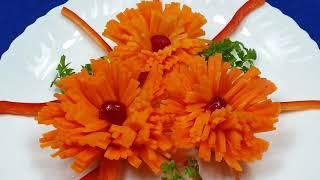 Хризантемы из моркови!!! Украшение блюд...