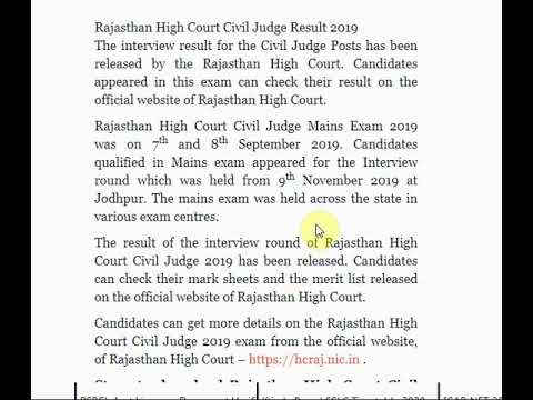 Rajasthan High Court Civil Judge Result 2019 Published on hcraj.nic.in, ...