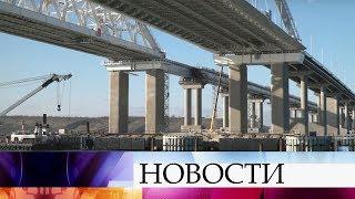 Сооружение опор для железнодорожной части Крымского моста завершено с опережением графика.
