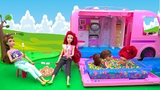 Barbie RV Camper POOL Cooking Outdoor with Disney Princess Toddlers