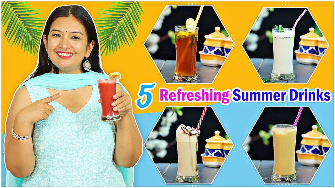 5 SUMMER Refreshing DRINKS | गर्मियों के फ्रेश ड्रिंक | CookWithNisha