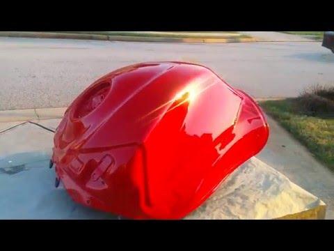 Painting Motorcycle Gas Tank: UreKem Jalapeno Red No Buff Done