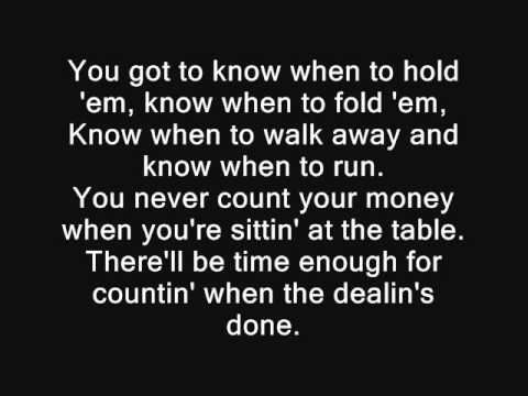 Keny Rogers - The gambler lyrics
