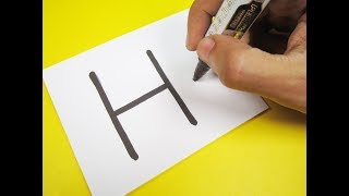 "How to turn Letter ""H"" into a Cartoon HOUSE ! Fun with Alphabets Drawing for kids"