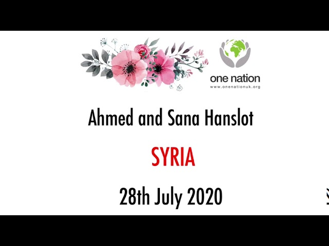 Ahmed and Sana Hanslot: Wedding day favours 28th July 2020