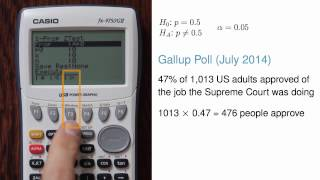 1-Proportion Hypothesis Test and Confidence Intervals using Casio fx-9750GII
