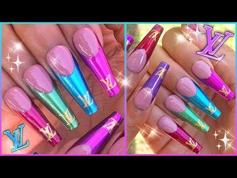 Louis Vuitton French Metallic Chrome Tips Gel Press On Nails
