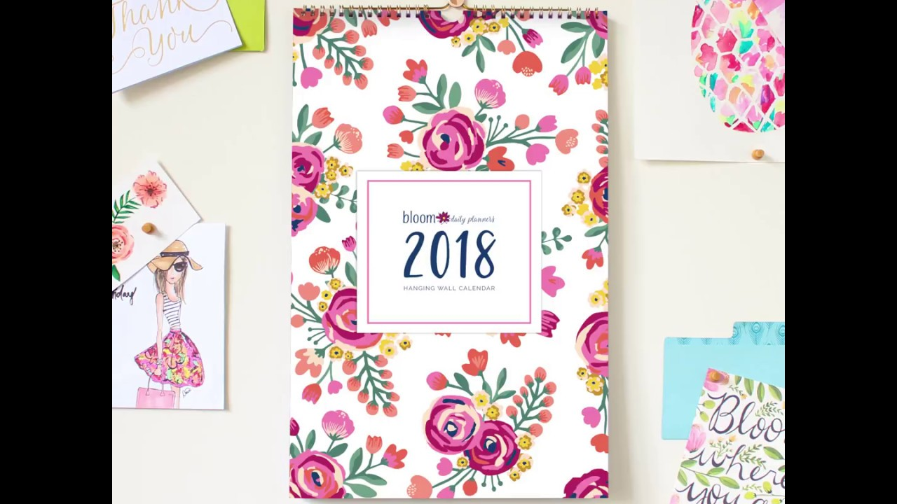 bloom daily planners 2018 hanging wall calendar sample flip
