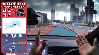 Autopilot Cant See Traffic Cones at Roadworks? - Tesla Autopilot in a UK City #4 Manchester