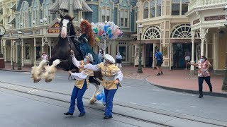 Merida's Horse Gets Caught in a Balloon at Disney World Magic Kingdom During Small Princess Parade