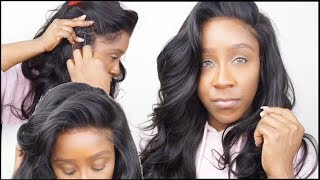 HOW TO SEW DOWN A LACE FRONT WIG FLAT | NO LEAVE OUT OR GLUE | ELEMO HAIR